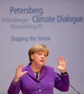 German Chancellor Angela Merkel delivers a speech at the fourth Petersberg Climate Dialogue in Berlin on May 6, 2013. (AFP Photo)